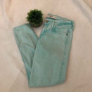 Abercrombie and Finch Acid washed teal jeans